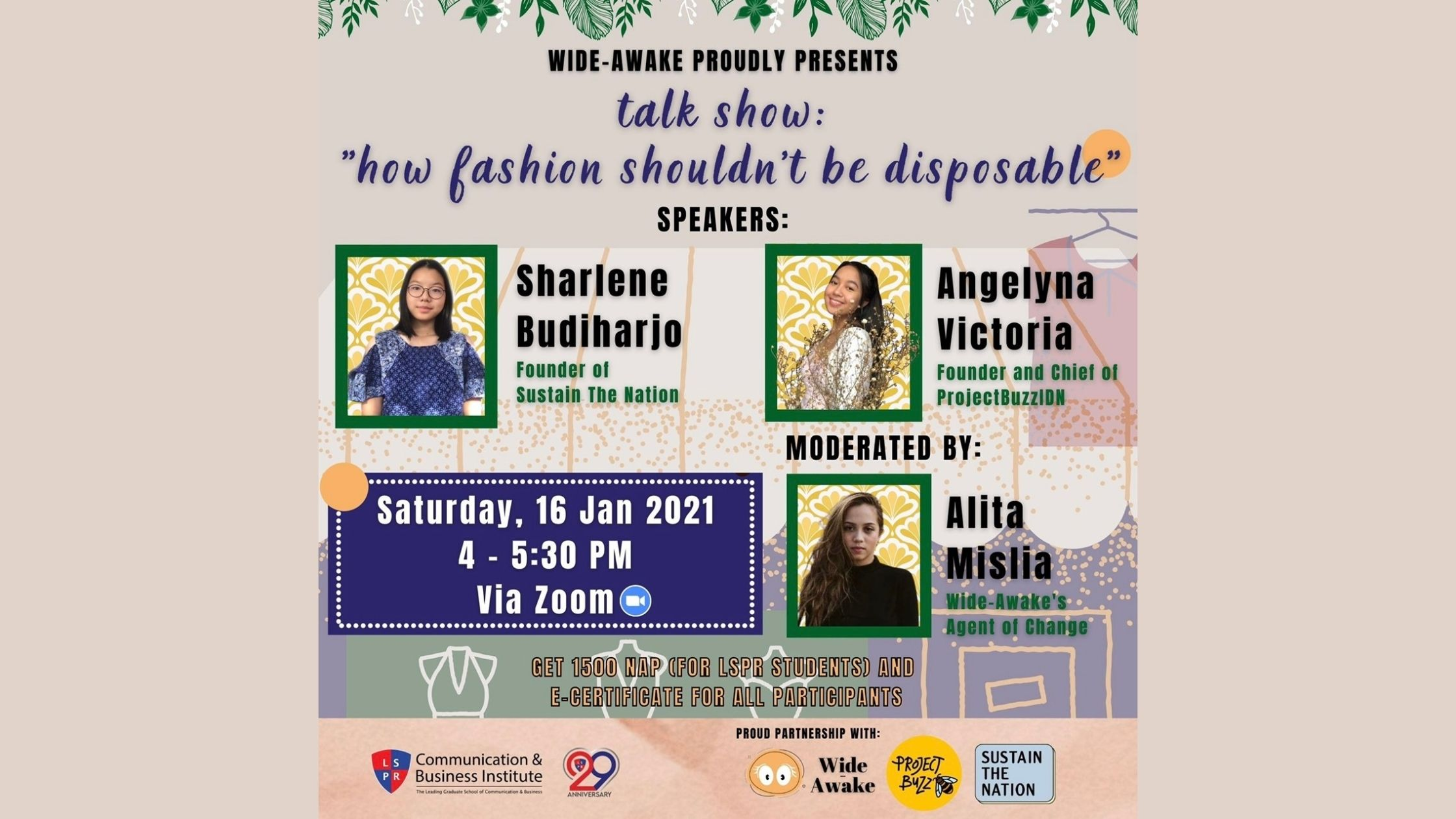 "[UPDATE] ""How Fashion Shouldn't be Disposable"" Talk Show by Wide-Awake"